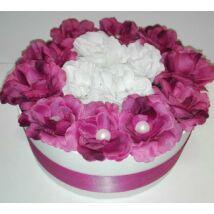Rózsadoboz / virágdoboz pink-fehér, kis méret