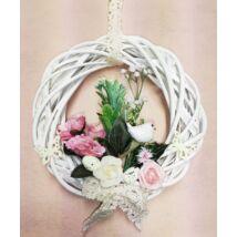 Fehér vessző koszorú rózsaszín madárkával és virágokkal 25 cm