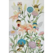 Virágok tündérekkel keresztszemes kép cérnával 36x51 cm