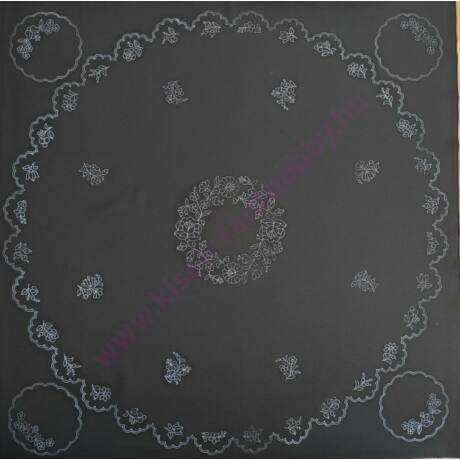 Kalocsai terítő ( 90X90-21) fekete
