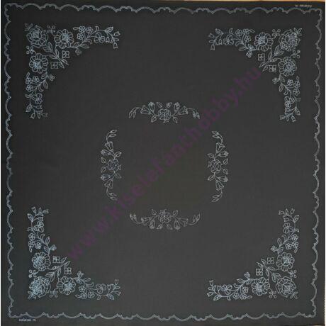 Fekete kalocsai abrosz (90X90 - 4)