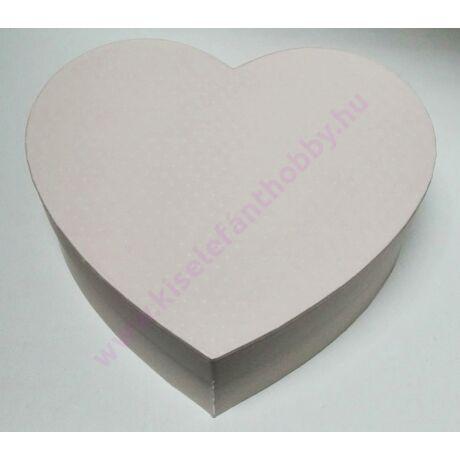 Szív papírdoboz 21,5x20x8 cm púder tűpöttyökkel