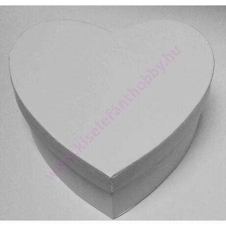 Szív papírdoboz 19x17x7 cm fehér