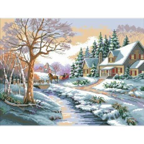 Keresztszemes kép cérnával 40x50 cm téli táj