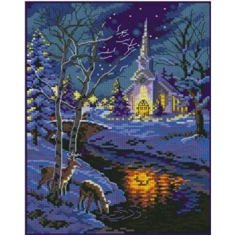 Keresztszemes kép cérnával 30x38 cm templom éjszaka