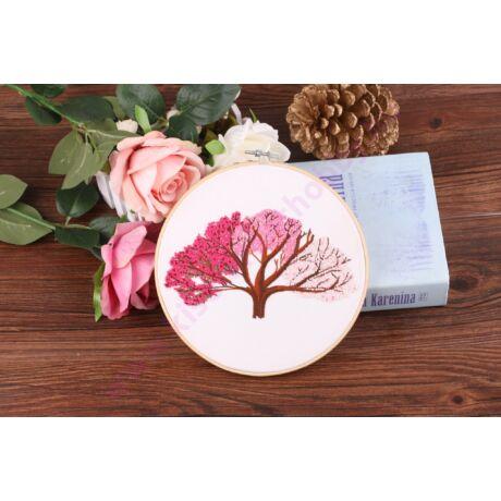 HÍMEZHETŐ HÍMZŐRÁMÁS KÉSZLET 20 CM - rózsaszín fa