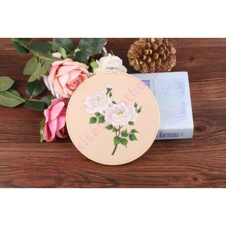 HÍMEZHETŐ HÍMZŐRÁMÁS KÉSZLET 20 CM - fehér rózsa
