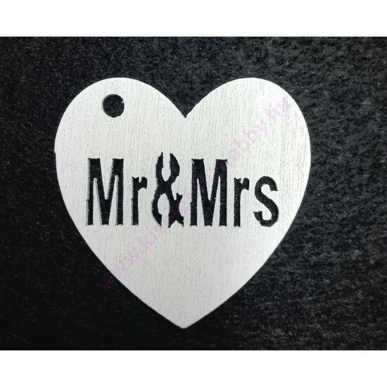 Fa Mr&Mrs szív fehér 4 cm
