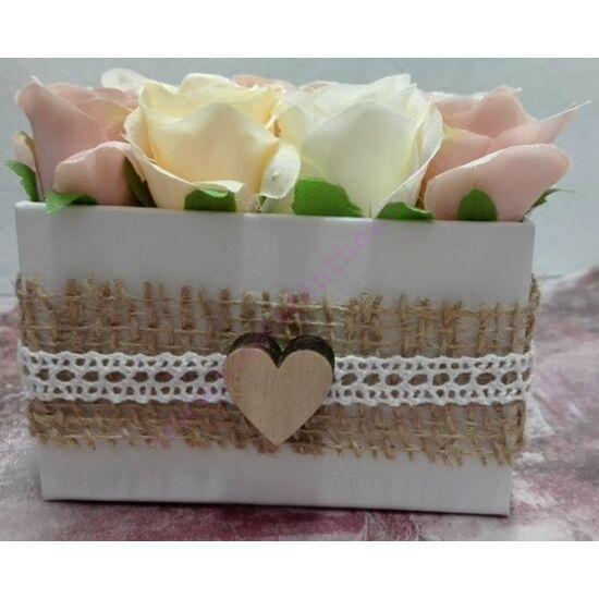 Rózsadoboz apró selyem rózsákból 10x16 cm