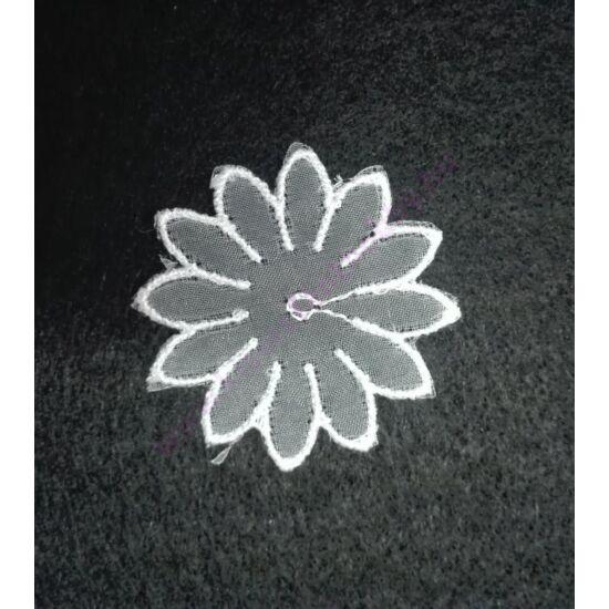 Fehér organza virág 3,8 cm