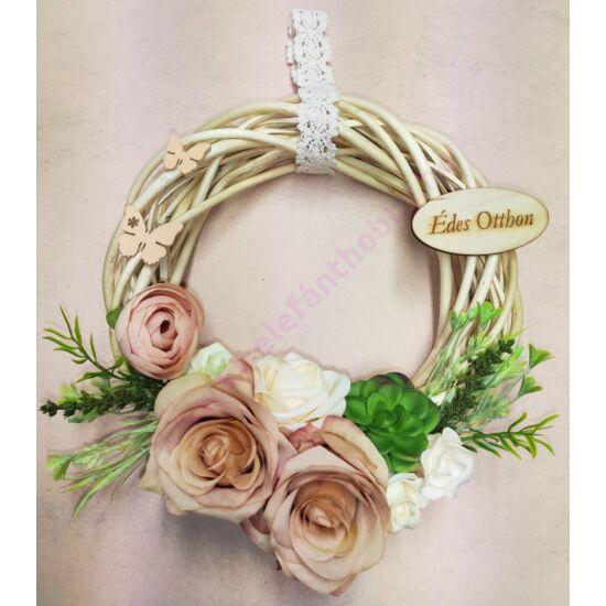 Nyers vessző koszorú barack rózsákkal, Édes otthon táblával 25 cm