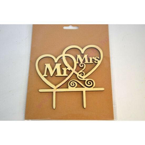 Fa beszúrós Mr & Mrs felirat 15 cm
