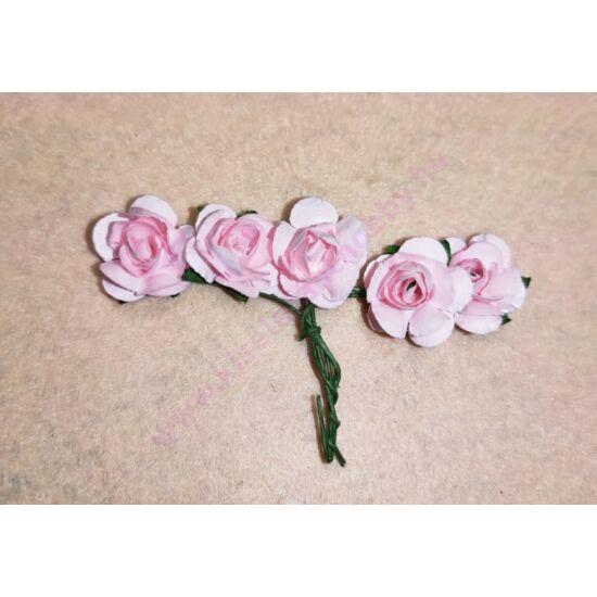 Papír rózsa 1,5 cm drót szárral 5 db rózsaszín