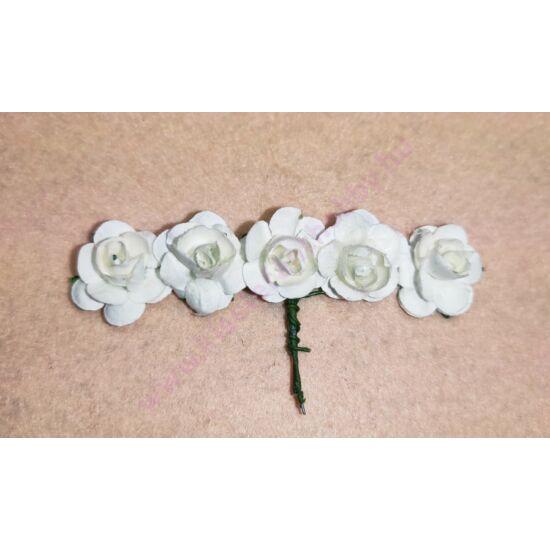 Papír rózsa 1,5 cm drót szárral 5 db fehér