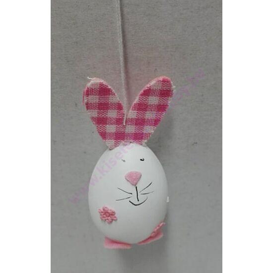 Nyuszi tojás figura kockás rózsaszín