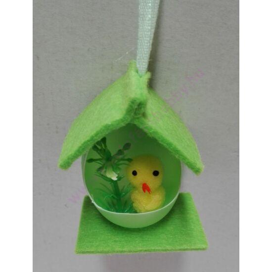 Csibés filc dísz zöld 7 cm