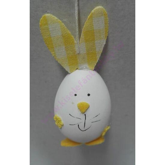 Nyuszi tojás figura kockás sárga