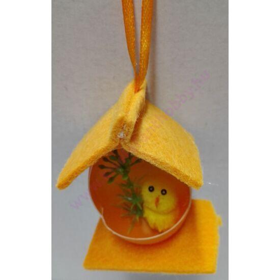 Csibés filc dísz narancs 7 cm