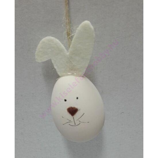 Nyuszi tojás figura 6 cm fehér