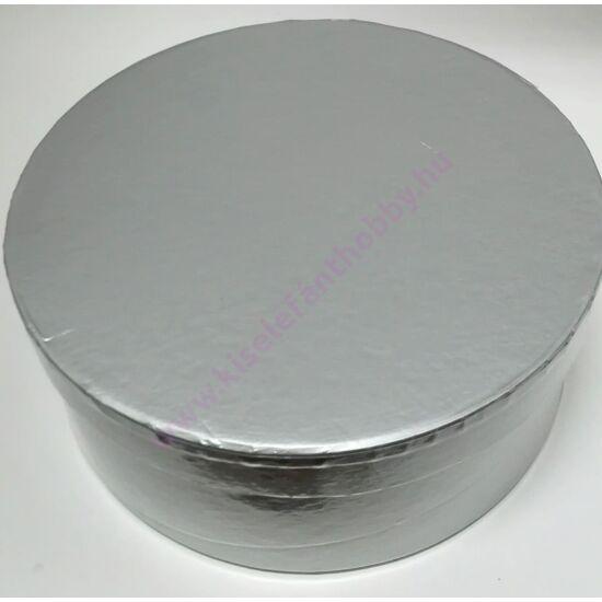 Kerek papírdoboz 17x7 cm fényes ezüst