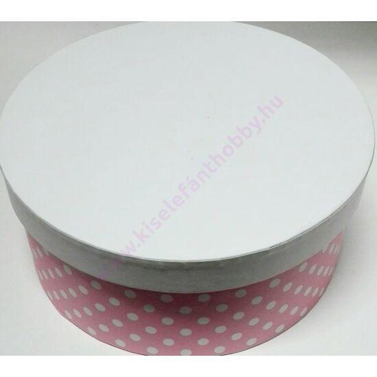 Kerek papírdoboz 15,5x7 cm rózsaszín-fehér pöttyös