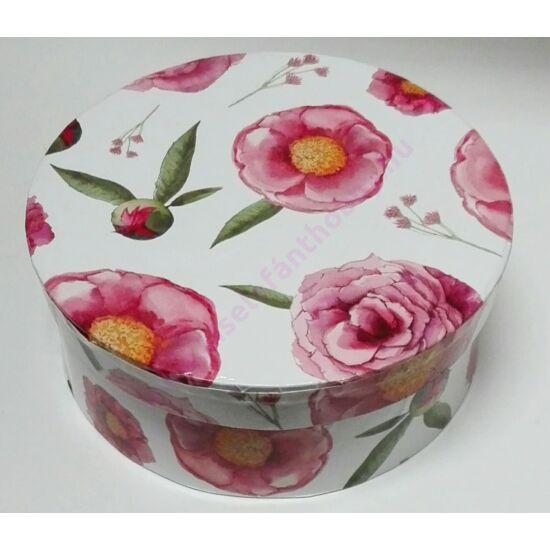 Kerek papírdoboz 14,5x6 cm pink virágos