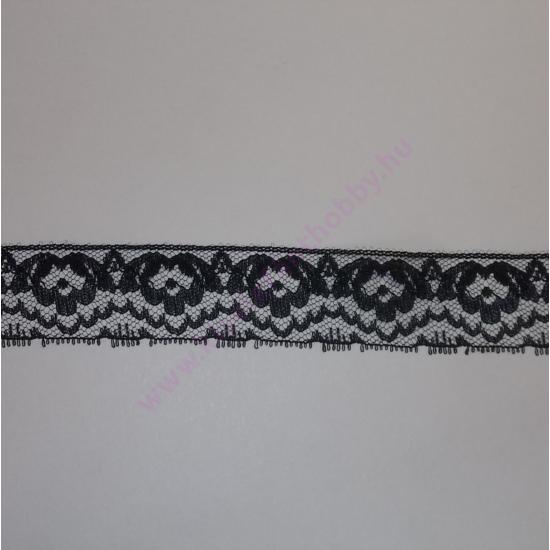 e1a08f0d26 Fekete műszálas csipke 2,5 cm - Fekete csipkék